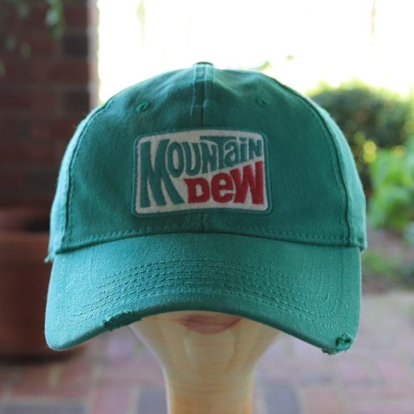 ff8a02e3fbb Mountain Dew Distressed Flexfit Curved Brim Hat. M 5b9056129fe48636c27ed08b